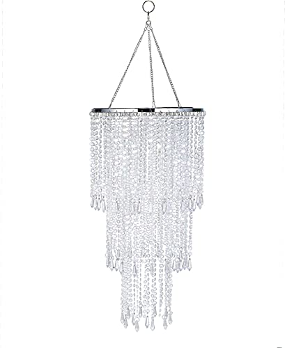 Modern Chrome Sparkling Iridescent Beaded Hanging Chandelier W10.25 H20 3 Tiers Beads Pendant Shade, Ceiling Chandelier Lampshade with Acrylic Jewel Droplets, Beaded Lampshade