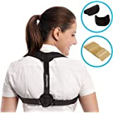 Posture Corrector for Women & Men - Adjustable Clavicle Brace for Posture Correction Back Corrector + Resistance Band by GlamyKings + eBook on improving LifeStyle