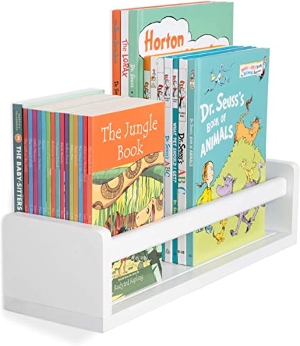 Wallniture Madrid Shelf Nursery Baby Room Wood Floating Wall Shelf White Kid s Room Bookshelf Display Decor 17 inch