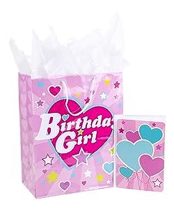 Hallmark Large Birthday Gift Bag with Tissue Paper and Birthday Card (Birthday Girl)