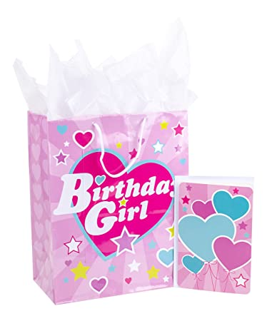 Hallmark Large Birthday Gift Bag With Tissue Paper And Card Girl
