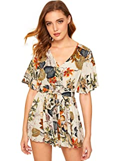 ccdc618b36 Amazon.com: Lanzom Women's Red Boho V Neck Floral Print Romper ...