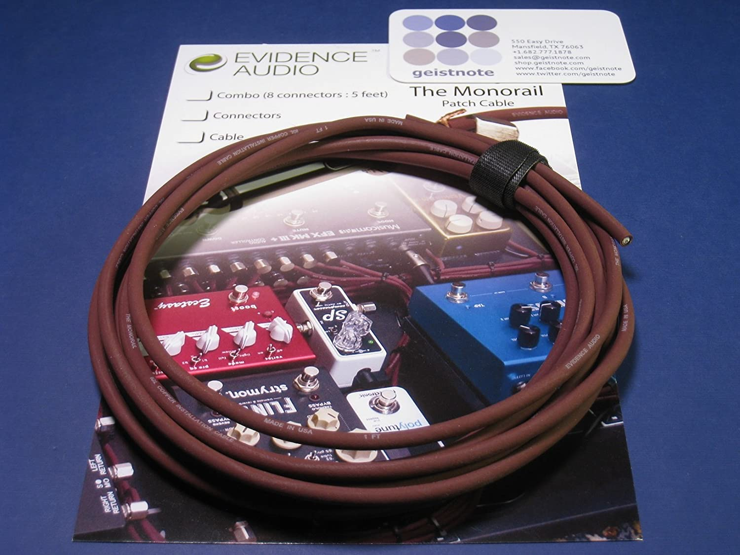Pedalboard Kit Geistnotes Evidence Audio The Monorail Solderless Burgundy Cable 20 SIS plugs//20 feet of Burgundy Monorail SIS
