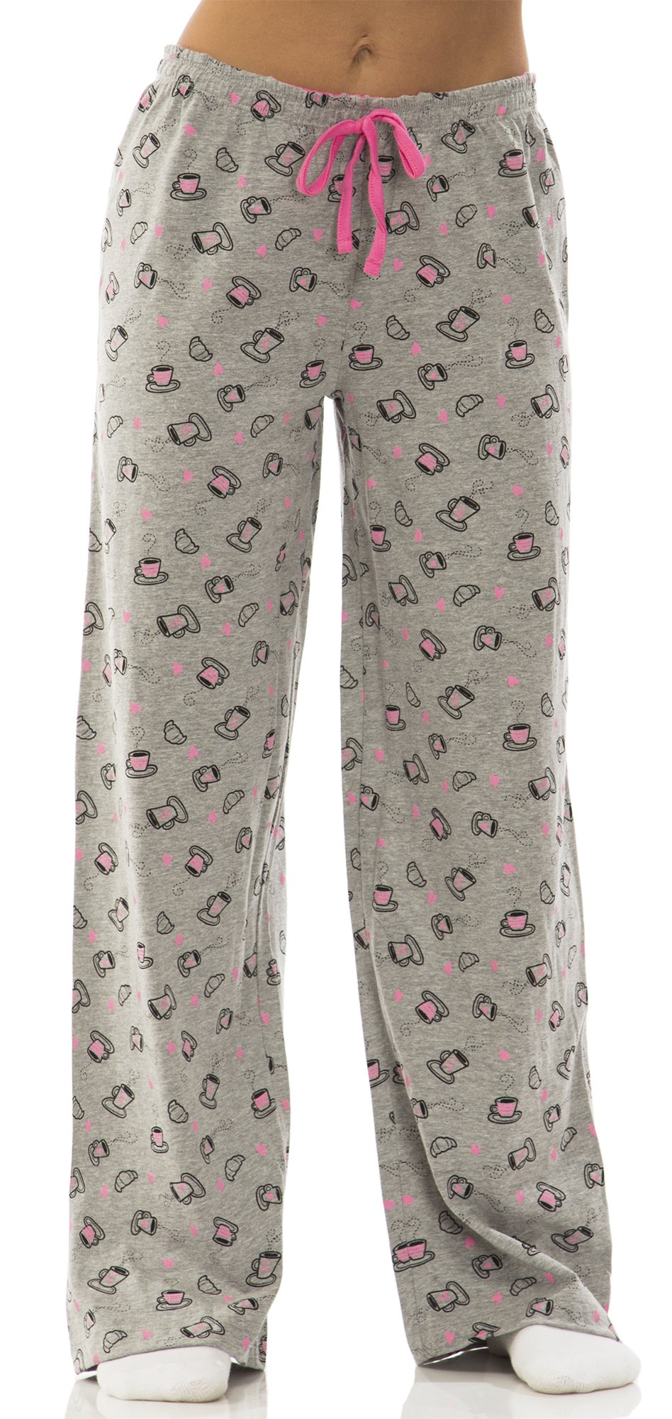 Dollhouse Womens Cotton Jersey Drawstring Pajama Bottoms Size: in Coffee Mugs, Grey, S