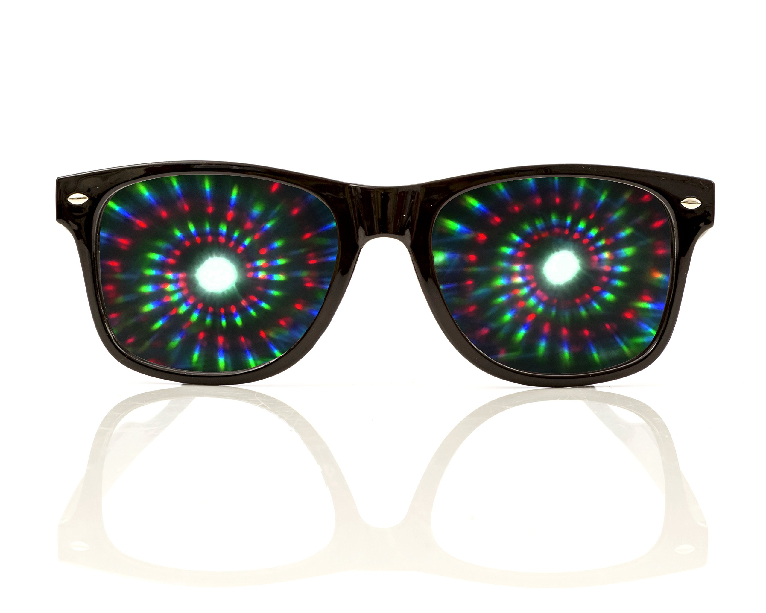 Black Spiral Diffraction Glasses - for Raves, Festivals and More