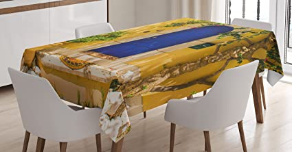 Bon Ambesonne Yellow And Blue Tablecloth, Traditional Greek House Door With  Flowers And Tree Mediterranean Scenery