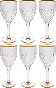 Goblet - Wine Glass - Water Glasses - Crystal - Set of 6 - Stemmed Glasses - Red or White Wine - Raindrop Design with Gold Rim - 12 oz. - by Barski - Made in Europe