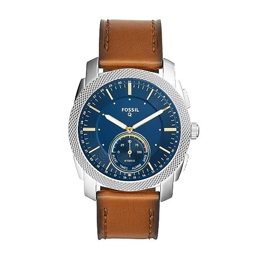 Fossil Q Mens Machine Brown Leather Hybrid Smartwatch FTW1162