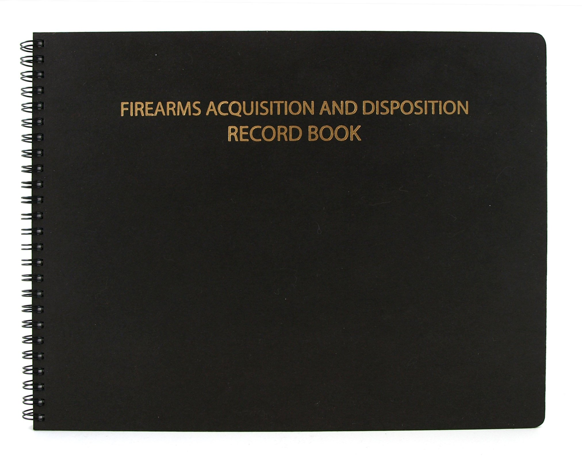 BookFactory Gun Log Book / Firearms Acquisition & Disposition Record Book - 100 Pages, Black-TransLux Cover - Wire-O, 11'' x 8 1/2'' (LOG-100-GUN-W01-T35)