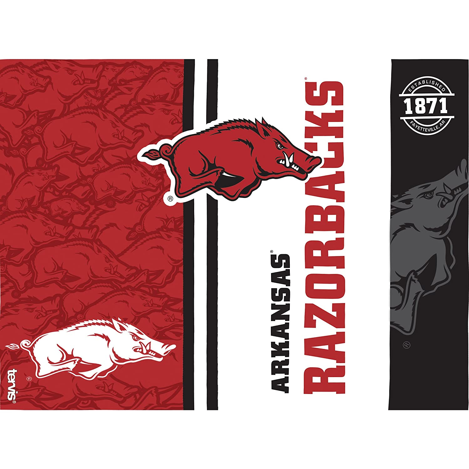 Tervis 1215044 Arkansas Razorbacks College Pride Tumbler with Wrap and Red Lid 24oz Clear