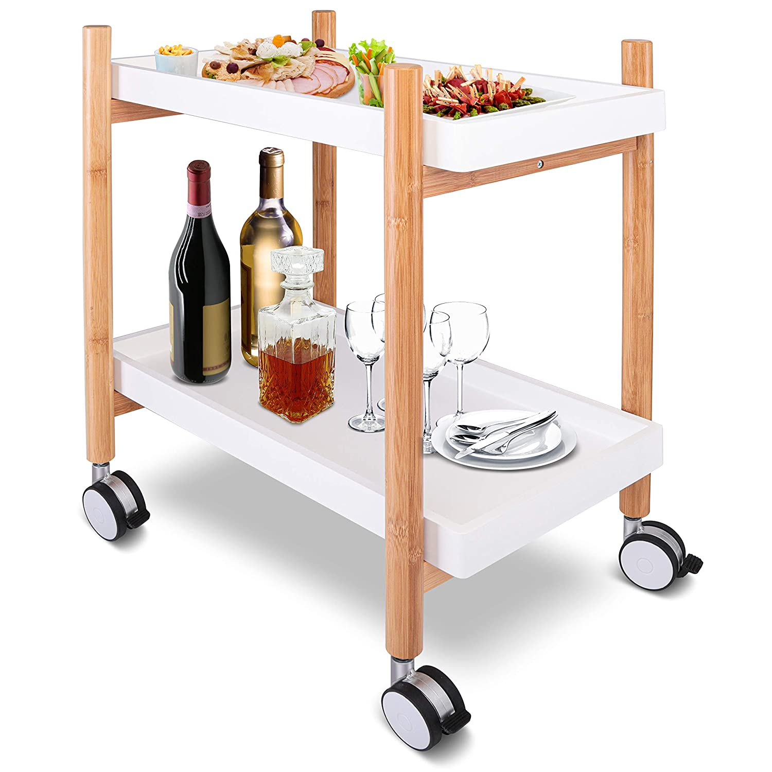Rolling Home Bar Serving Cart - 2-Tier Mobile Kitchen Serving Trolley Carter Rolling Bar with Removable Trays and 4 Wheels - Coffee, Tea, Wine, Whiskey Holder Serving Cart - SereneLife SLSRVCRT400