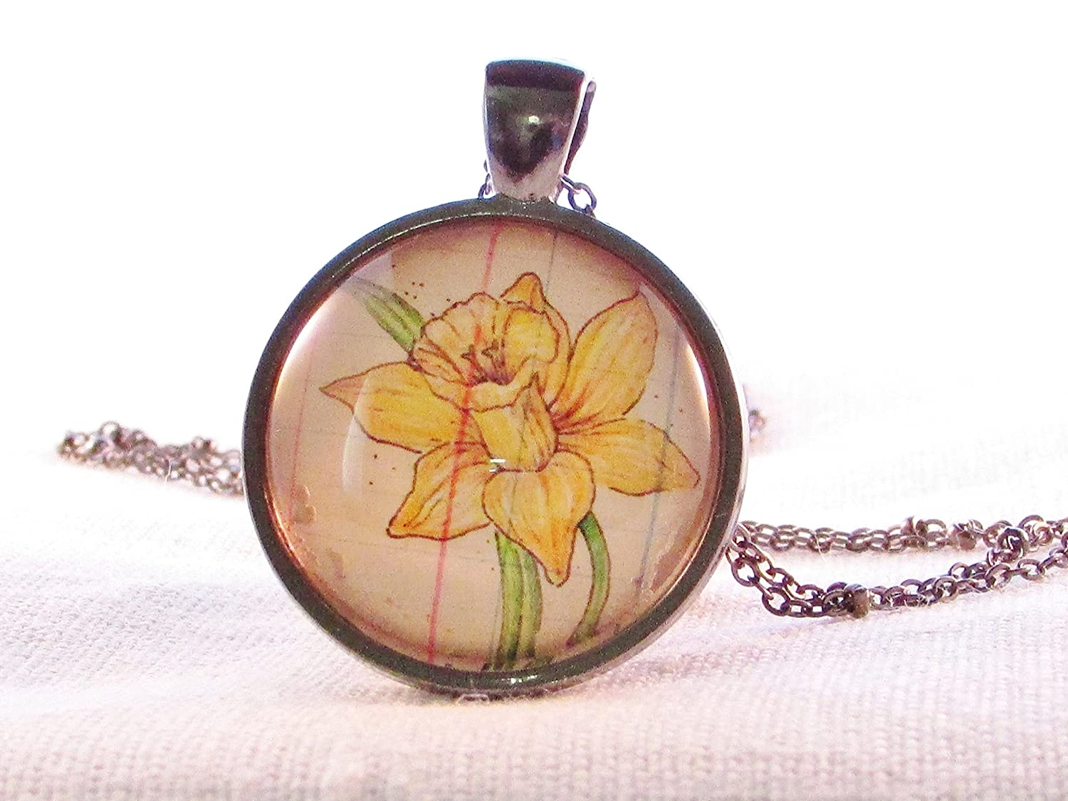 March Birth Month Flower Daffodil Necklace Pendant Wearable Art Yellow Flower Birthday Gift Idea