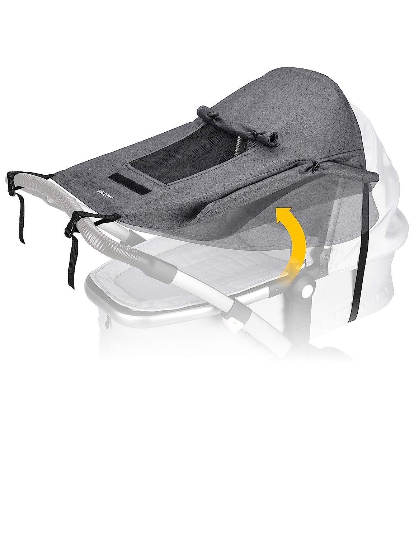 Sonnenschutz f/ür Kinderwagen UV Schutz f/ür Buggy - Sichtfenster und extra breite Schattenfl/ügel BON/&BENE Kinderwagen Sonnensegel anthrazit