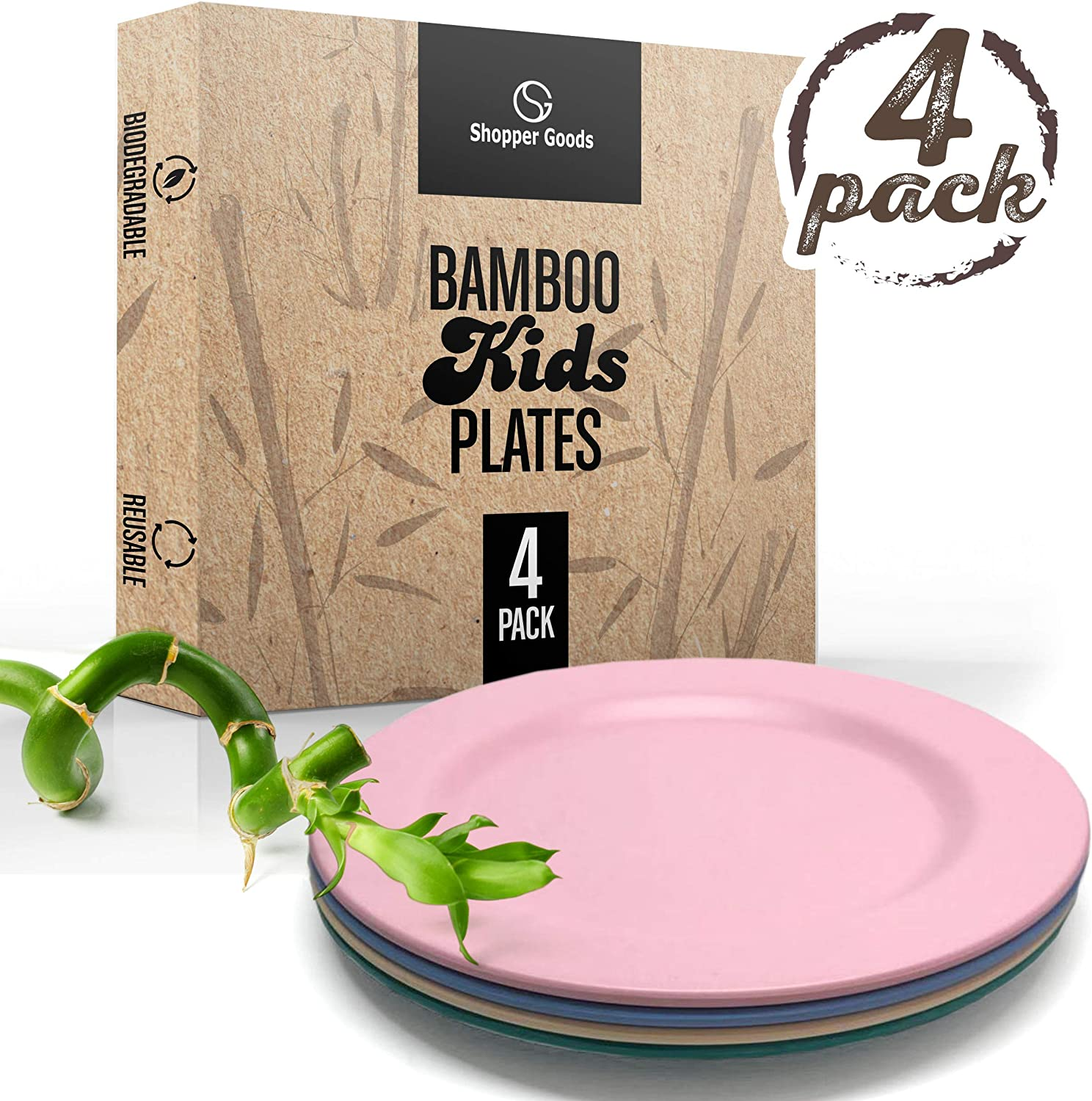 Shopper Goods Bamboo Plates 4 Pack, Bamboo Dinnerware, Eco-Friendly Dinnerware Set, BPA Free (Multiple Colors), Bamboo Fiber Plates for Healthy Dining