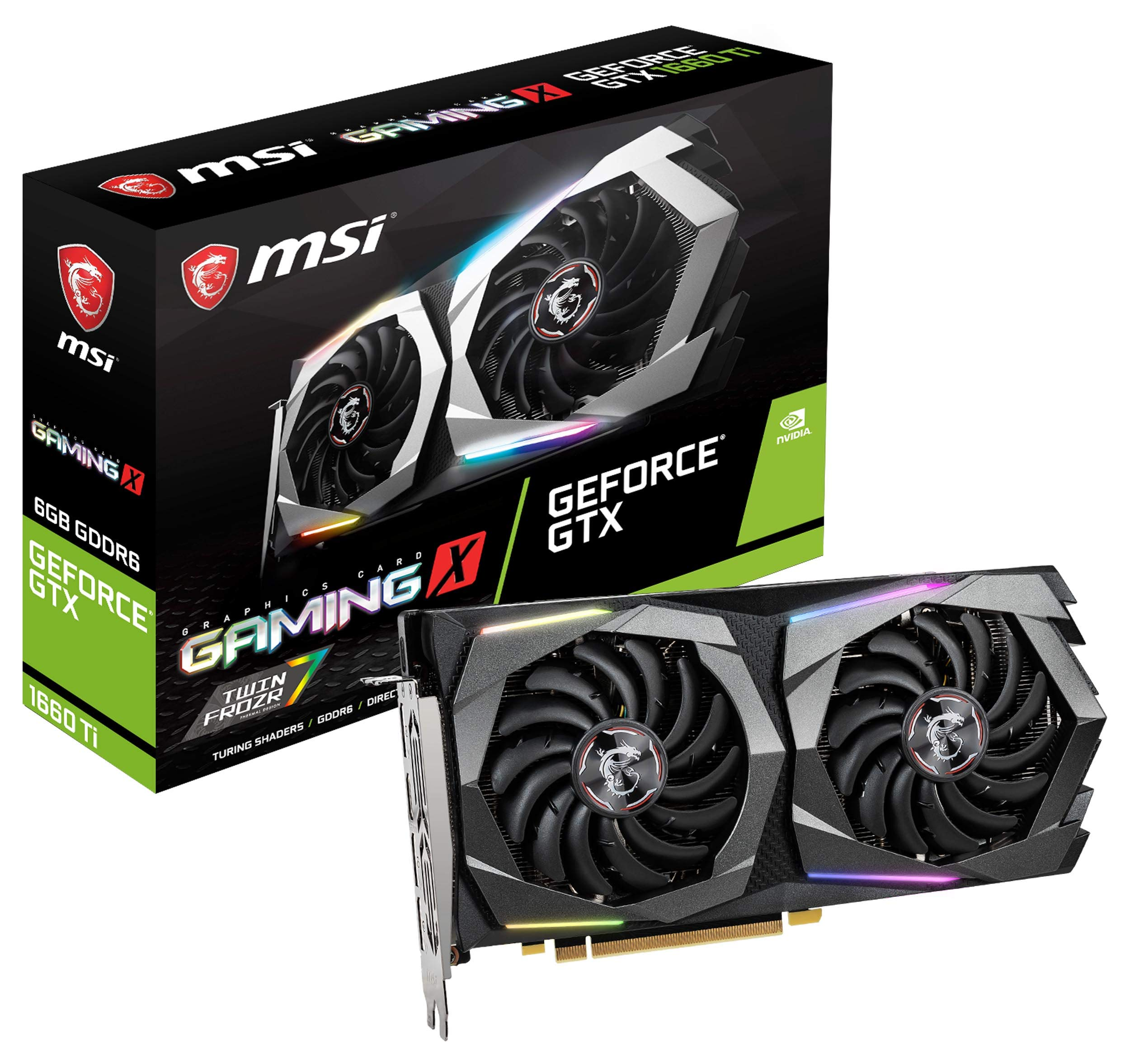 MSI Gaming GeForce GTX 1660 Ti 192-bit HDMI/DP 6GB GDRR6 HDCP Support DirectX 12 Dual Fan VR Ready OC Graphics Card (GTX 1660 TI Gaming X 6G) by MSI (Image #1)