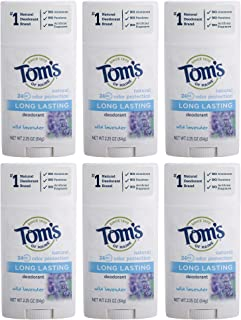 product image for Tom's of Maine Long Lasting Deodorant, Deodorant for Women, Natural Deodorant, Wild Lavender, 2.25 Ounce, Pack of 6