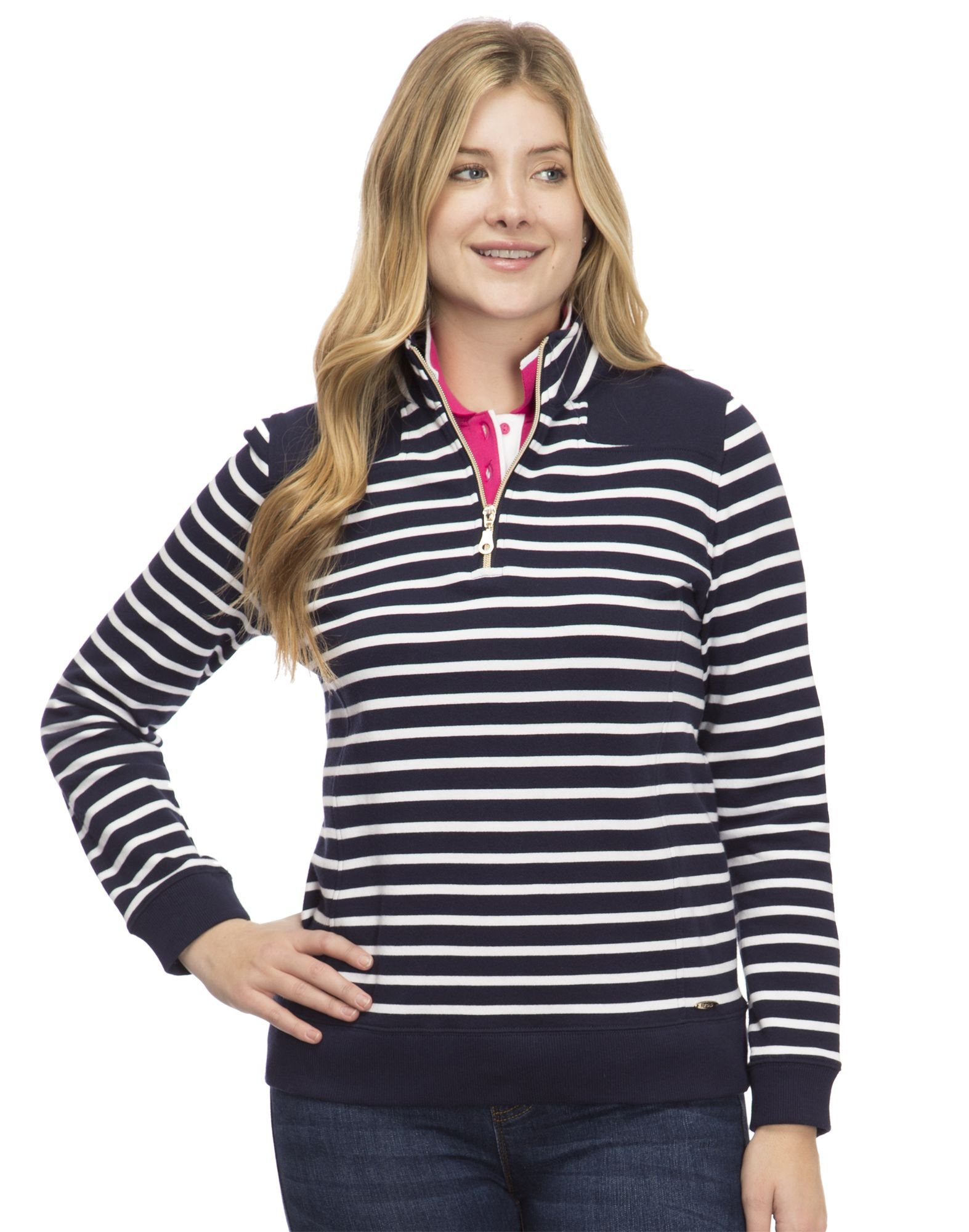 IZOD Women's French Terry 1/4 Zip Top, Peacoat Stripe, S