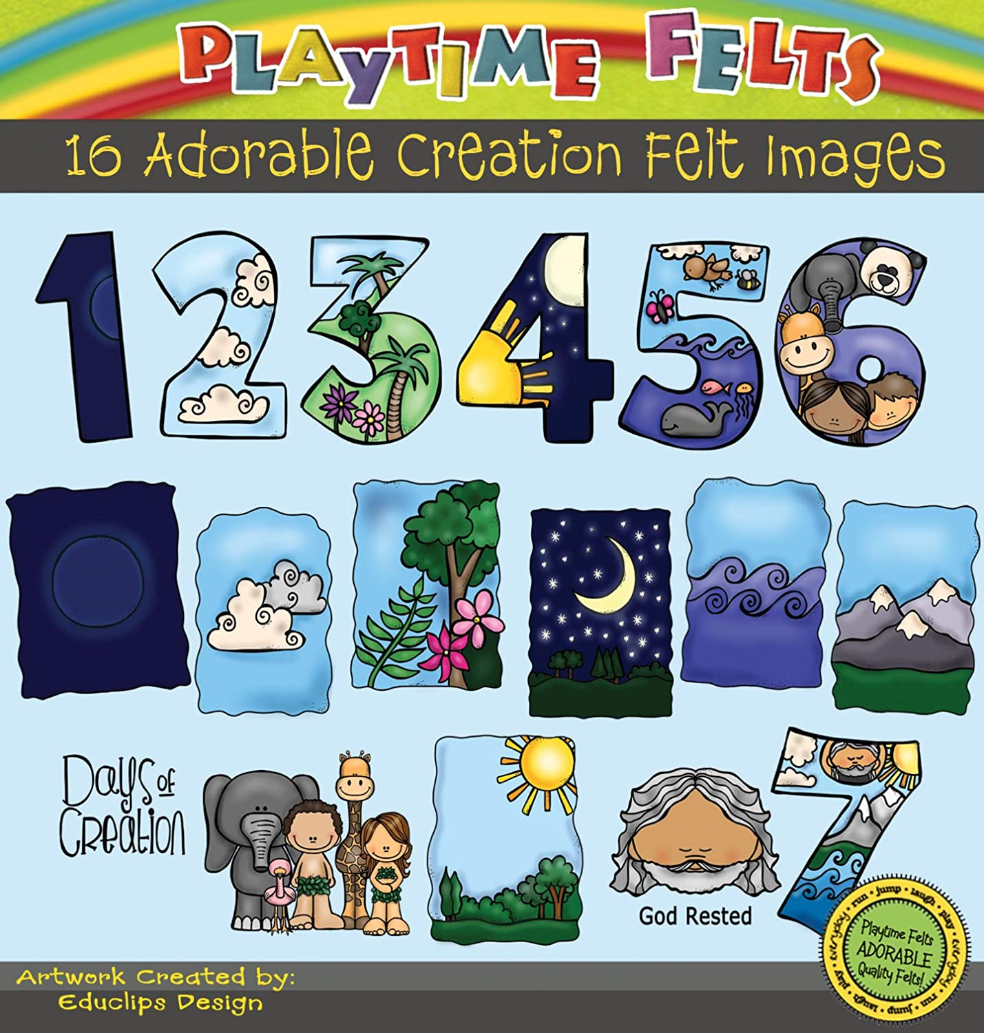 Amazon Com Days Of Creation Felt Figures For Flannel Board Fun By Playtime Felts Toys Games