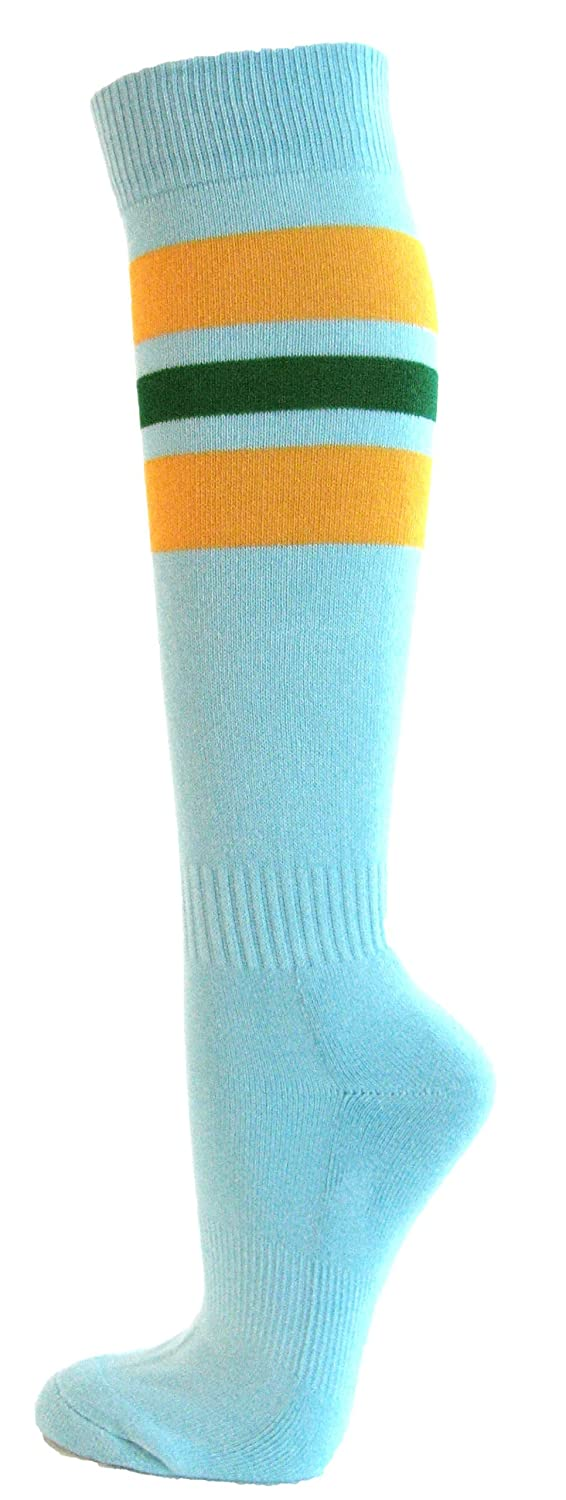Couver Women's Light Sky Blue Striped Knee High Softball Socks