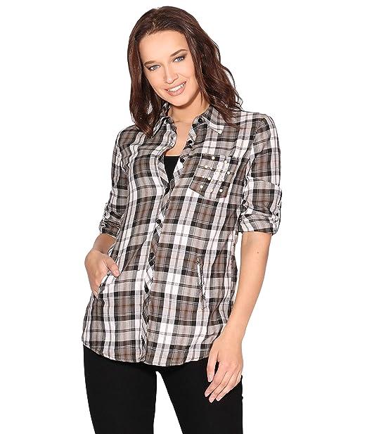 KRISP Camisa Cuadros Algodón Bolsillo Perlas: Amazon.es: Ropa y accesorios