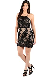 Womens Sleeveless Floral Beaded Embroidered Sheer Mesh Layered Bodycon Dress