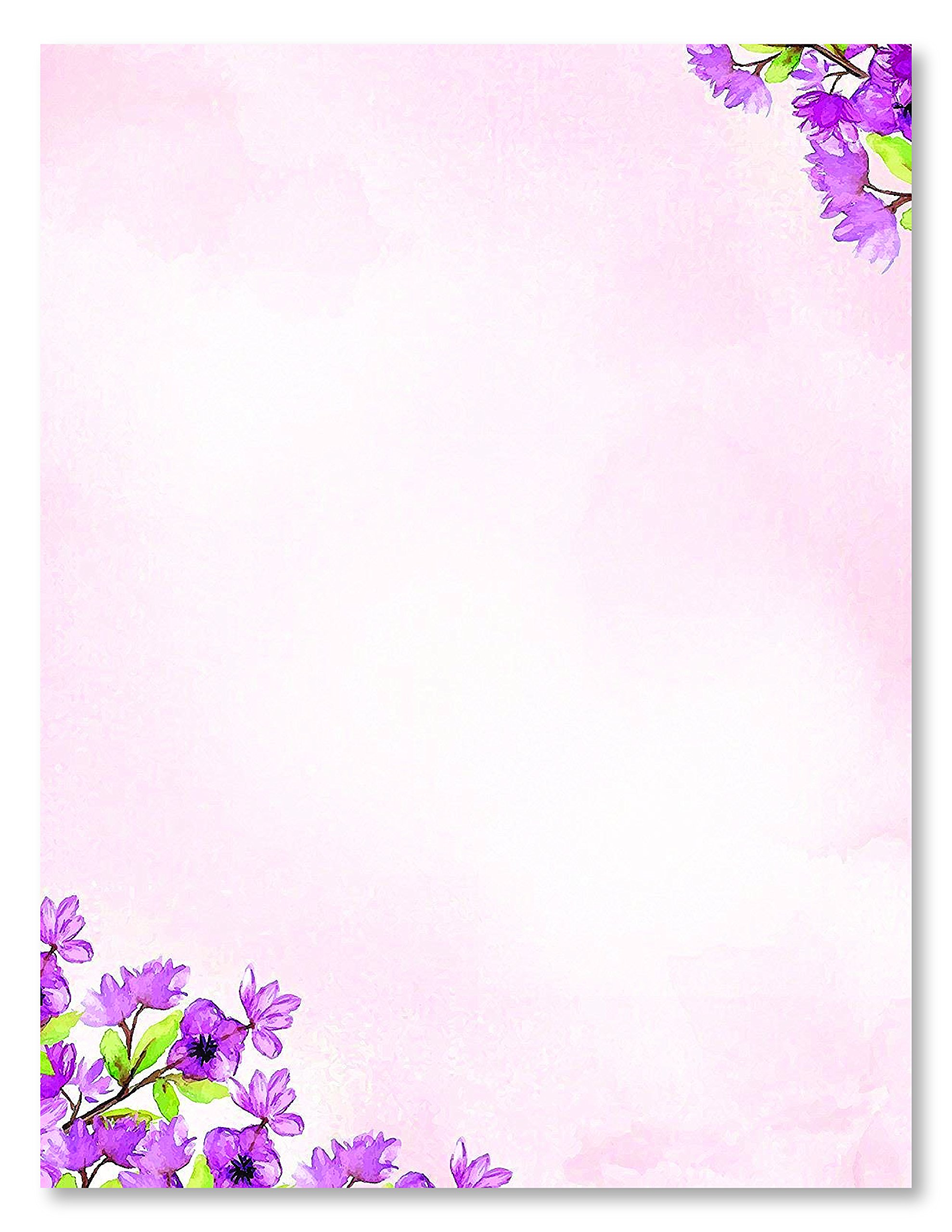 100 Stationery Writing Paper, with Cute Floral Designs Perfect for Notes or Letter Writing - Violets