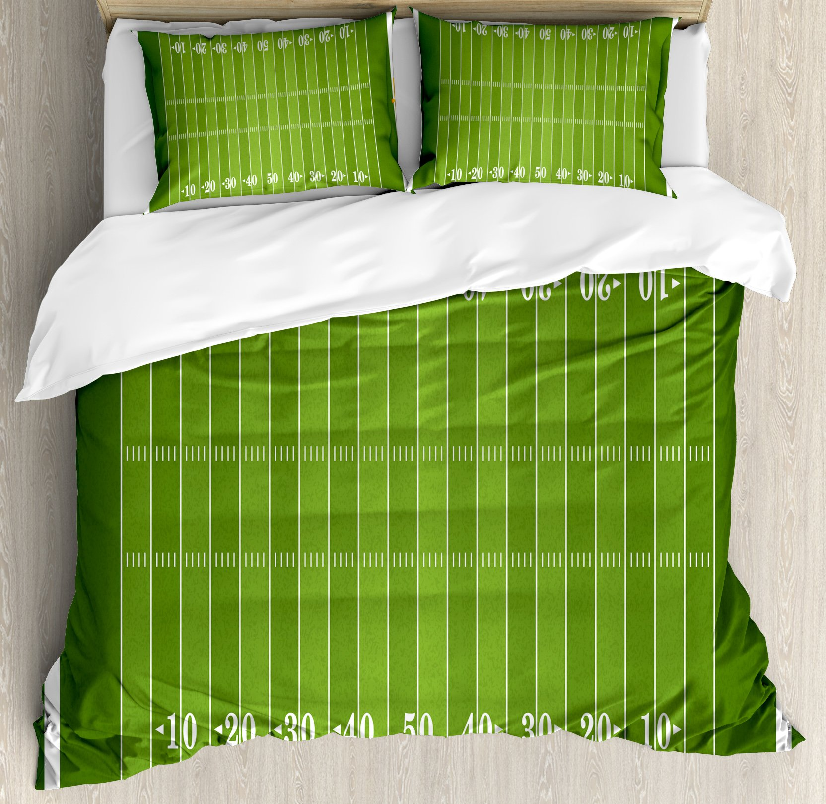 Football Queen Size Duvet Cover Set by Ambesonne, Sports Field in Green Gridiron Yard Competitive Games College Teamwork Superbowl, Decorative 3 Piece Bedding Set with 2 Pillow Shams, Green White