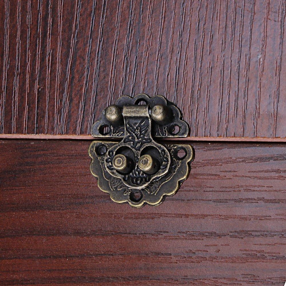BQLZR Antike Vintage 3x3cm Bronze Box Buckle Dekorative Vorh/ängeschloss Packung von 4