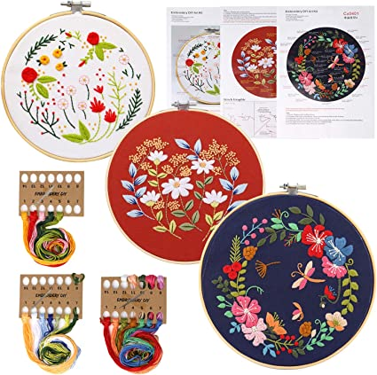 FINGOOO 2 Pack Embroidery Starter Kit with Pattern and Instructions Including Embroidery Cloth with Pattern,Bamboo Embroidery Kits for Adult Beginner