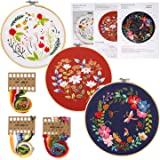 FINGOOO 3 Pack Embroidery Starter Kit with Pattern, 3 Bamboo Embroidery Hoops DIY for Adult Beginner