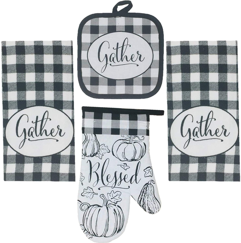 Harvest Fox Oven Mitt and Potholder 4 Piece Bundle Set Way to Celebrate Fall Kitchen Towels