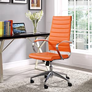Modway Jive Ribbed High Back Tall Executive Swivel Office Chair With Arms In Orange