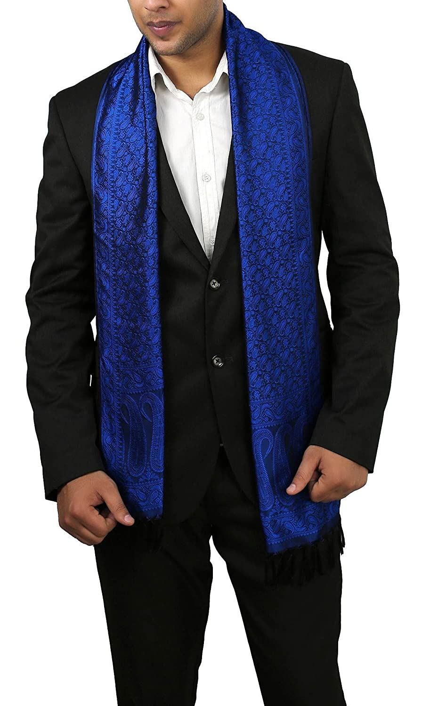Men'Seiden-Schal, leichtes Accessoire & mit schwarzem Paisley-Print, Blau