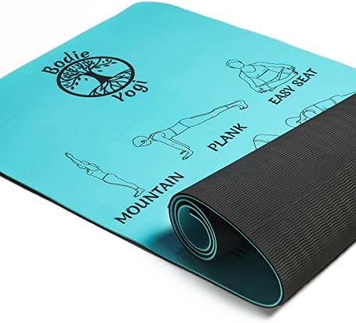 Bodie Yogi Non Slip Fitness Instructional Yoga Mat W Illustrated Pose