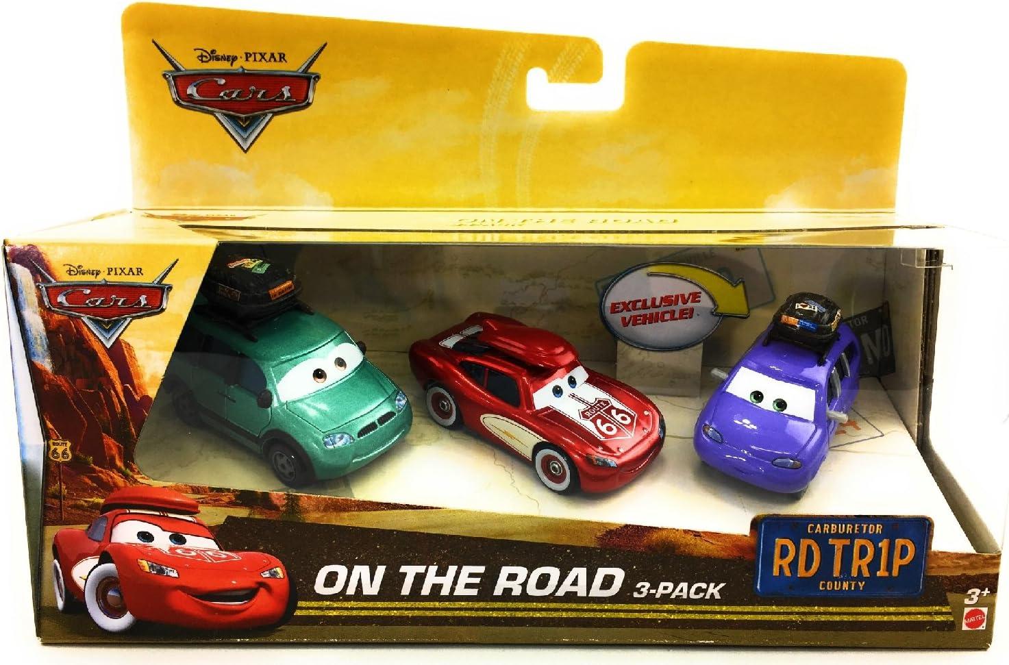 Disney Pixar Coches en la Carretera 3-Pack Que Incluye Cruisin Rayo Mcqueen, Van, Mini con portaequipajes Rojo, Azul, Verde, púrpura, Trullo, Blanco, Negro, Marrón: Amazon.es: Juguetes y juegos
