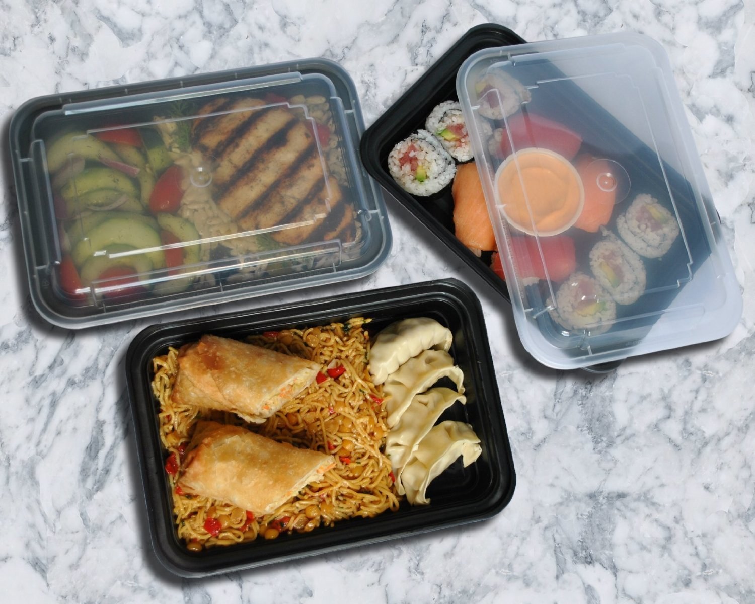 microwave meal prep plastic food containers lid divided plate bento box lunch ebay. Black Bedroom Furniture Sets. Home Design Ideas