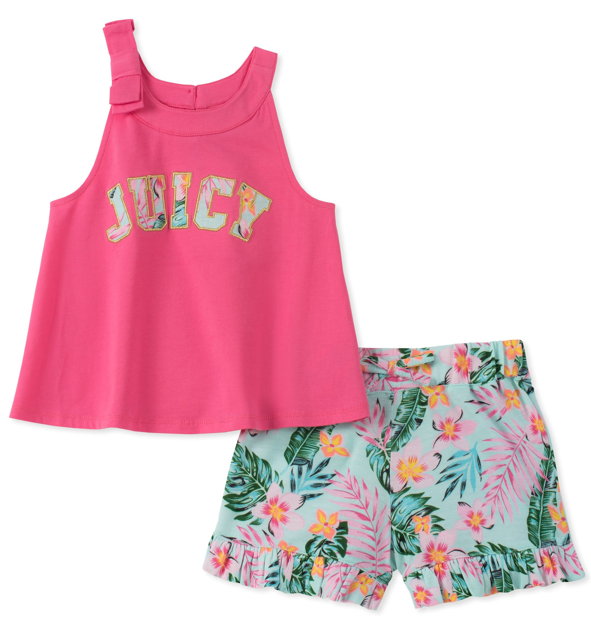 Juicy Couture Girls' Little 2 Pieces Shorts Set, Pink/Print 4