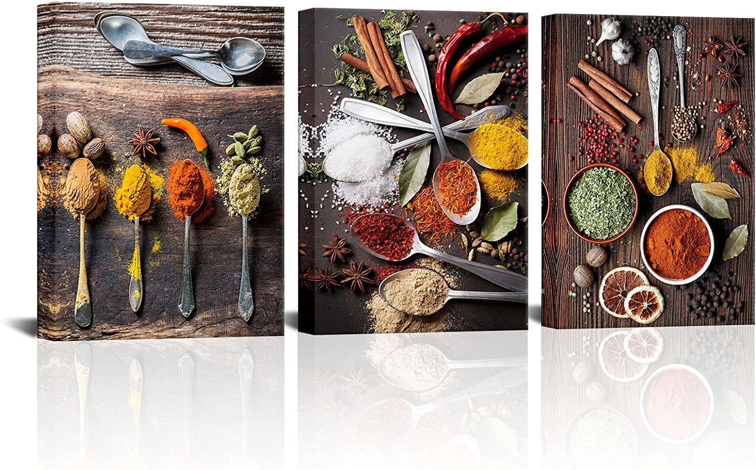 Kalormore Kitchen Pictures Wall Art Decor Colorful Spices in Retro Spoons Canvas Prints Food Photo Decoration Stretched on Wood Frame Ready to Hang