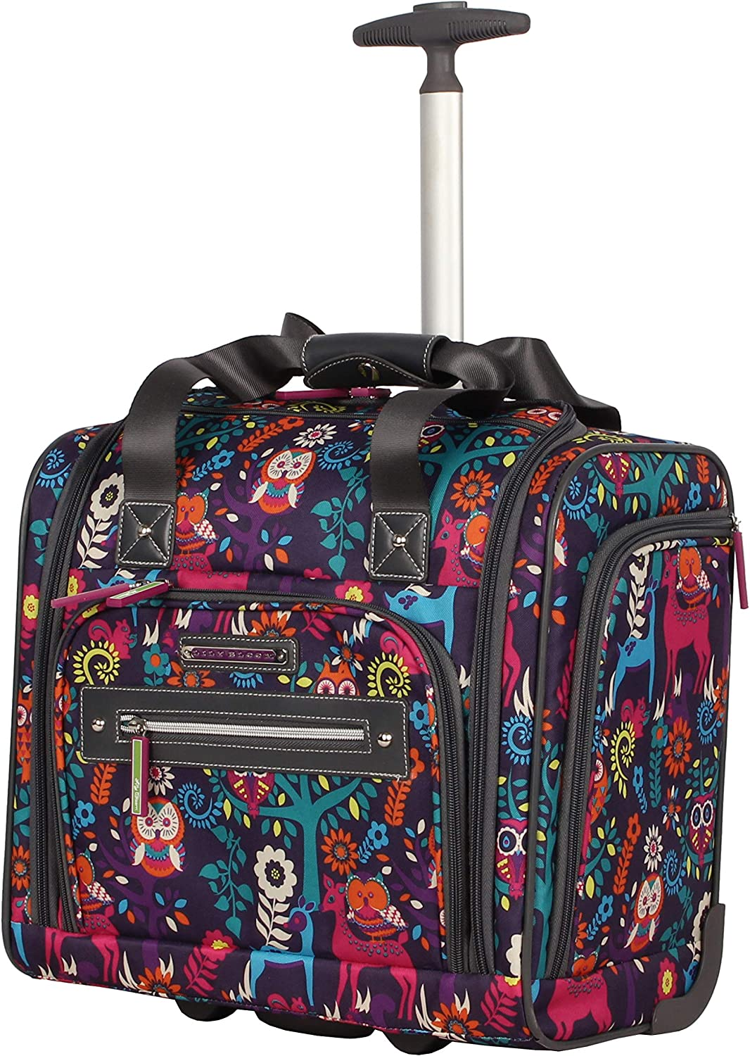 Lily Bloom Designer 15 Inch Carry On - Weekender Overnight Business Travel Luggage - Lightweight 2- Spinner Wheels Suitcase - Under Seat Rolling Bag for Women (Wildwoods)
