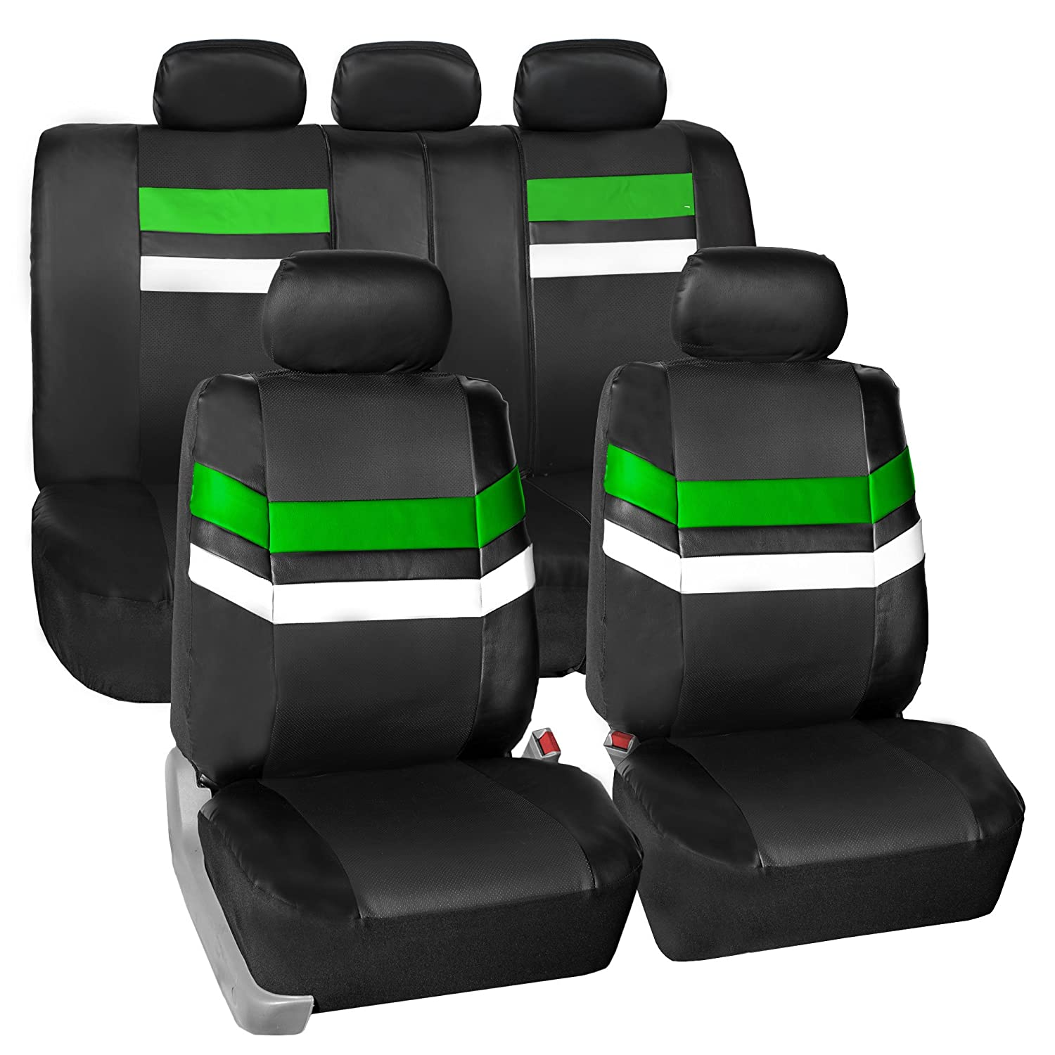 FH Group Leather Full Set Seat Covers Gray Airbag Safe PU006GRAY115 /& Split Bench Ready