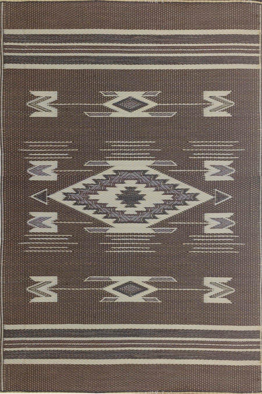 Mad Mats Navajo Indoor Outdoor Floor Mat, 5 by 8-Feet, Brown
