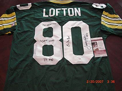 timeless design 13efc aafb6 Autographed James Lofton Jersey - Pay Hof full Stats coa ...