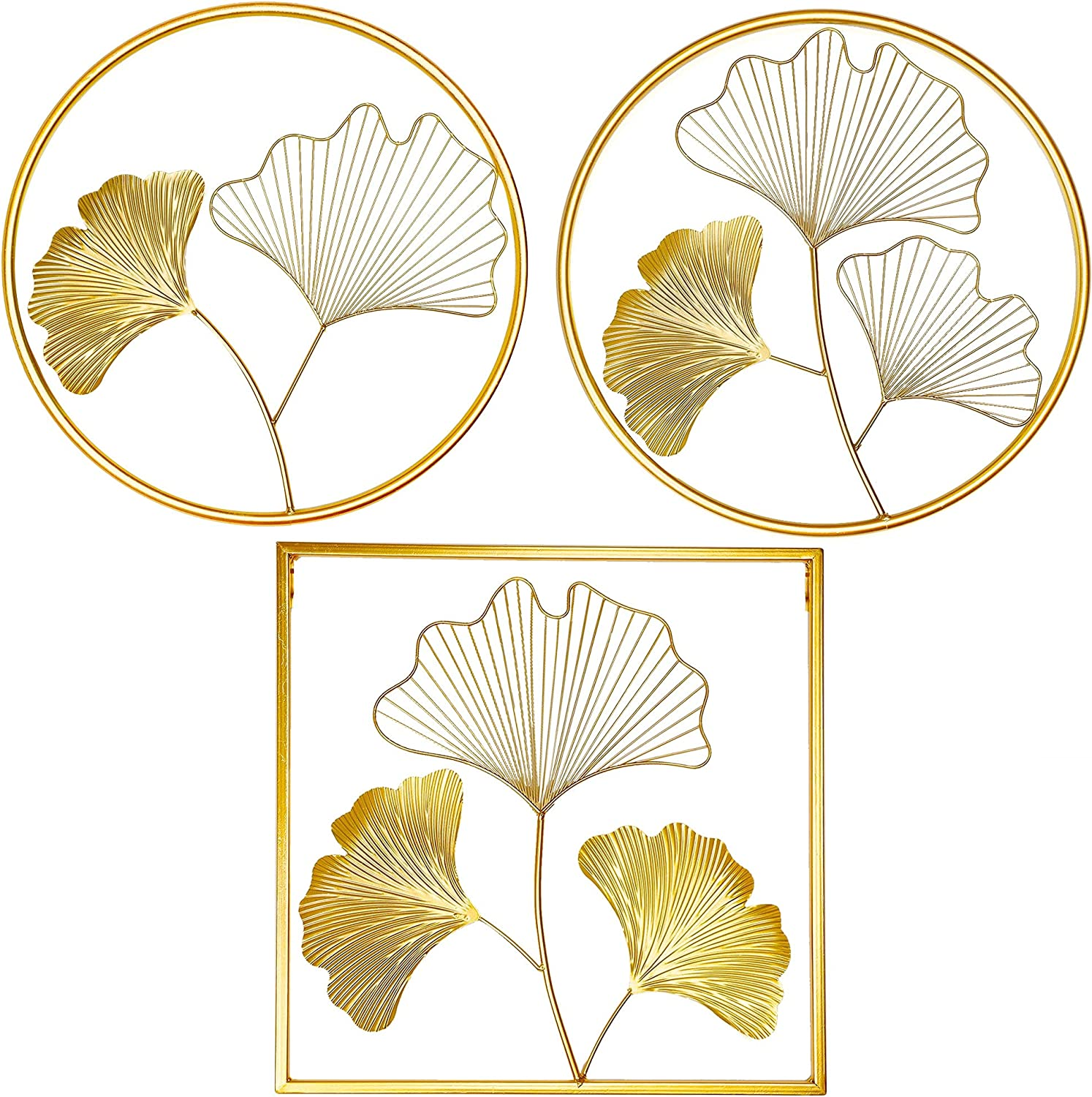 Meekear Gold Wall Decor, Set of 3 Golden Ginkgo Leaves Metal Wall Decor with Frame, Gold Metal Art Wall Sculpture for Living Room, Bedroom, Office, Study, Large