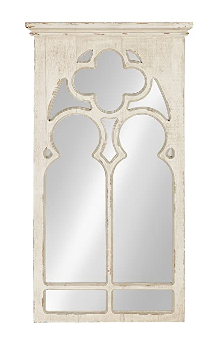 Amazon.com: Kate and Laurel Mirabela Arch Framed Wall Mirror, White ...