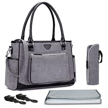 RUVALINO Baby Wickeltasche Gro/ß Windel-Einkaufstasche Mit Wickelauflage Und Isolierte Tasche Grau