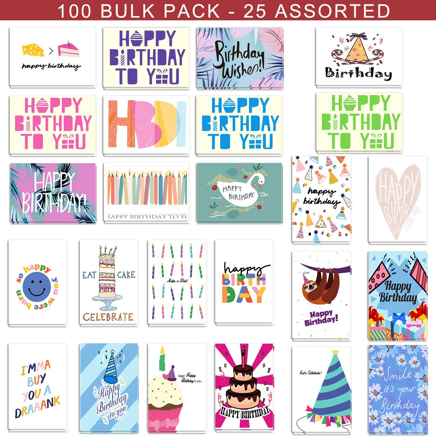100 Birthday Cards Bulk 25 Assorted Happy Birthday Cards, Birthday Greeting Cards Box Set with Envelopes and Seals, 4 x 6 inches Blank on the Inside by SUPHOUSE