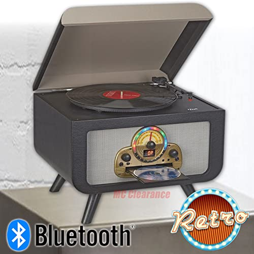 Bluetooth Entertainment Center iTrak BT5017 Retro 4-in-1 Stereo, AM FM Radio 3 Speed Turntable, Top Loading, Bluetooth Connectivity, Dynamic Stereo Speakers