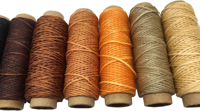 Gnognauq Hilo de cordón de poliéster de 0,8 mm con encerado plano, 30 m, hilo de coser encerado de cuero, hilo de poliéster encerado para piel y cuero: Amazon.es: Hogar