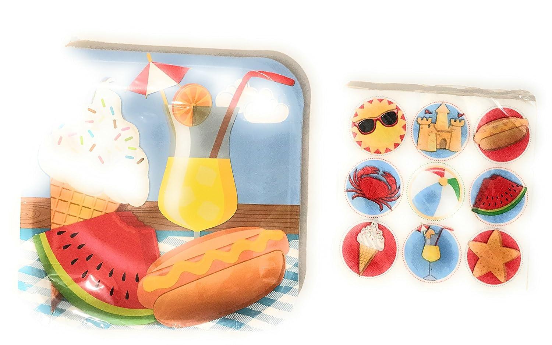 サマーピクニックHotdogアイスクリームスイカプレートとナプキンセット B0716945WG