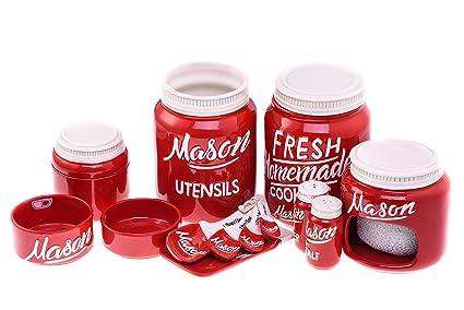 Merveilleux 7 Piece Mason Jar Kitchen Ceramics   Beautiful Vintage Kitchenware Set |  Measuring Cups U0026